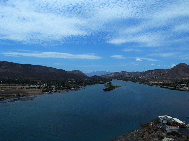 Looking up the estuary towards the town, Mulege